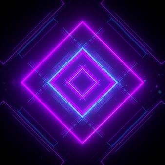 Fond néon dans le rendu 3d du modèle cubique
