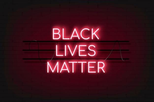 Fond de néon rouge black lives matter