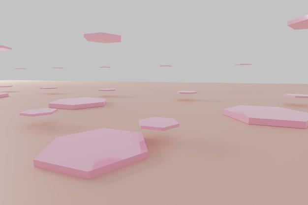 Fond de nid d'abeille abstrait hexagone rose rendu 3d