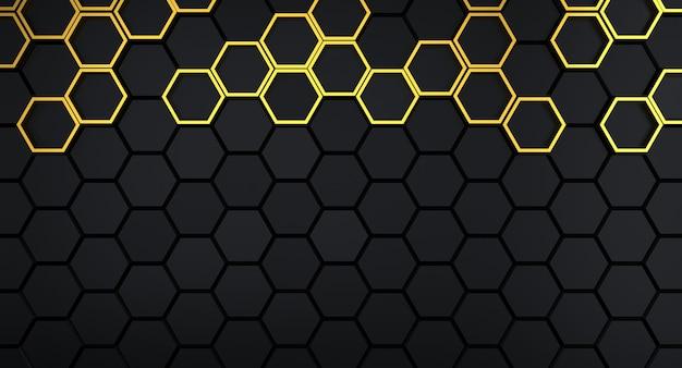 Fond en nid d'abeille foncé et grille hexagonale dorée dessus