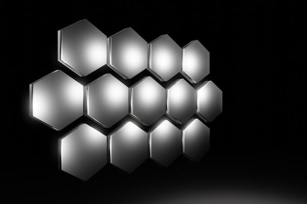 Fond de nid d'abeille hexagonal métallique abstrait rendu 3d