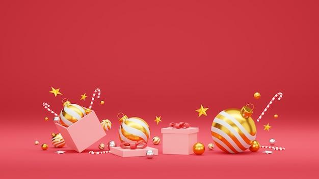 Fond de noël et bonne année avec décoration festive et espace de copie.