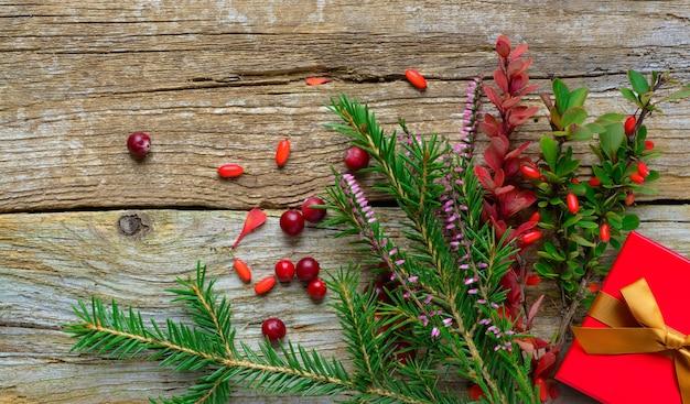 Fond de noël avec bruyère de sapin et berryes sur fond de bois ancien. présent dans la boîte rouge.