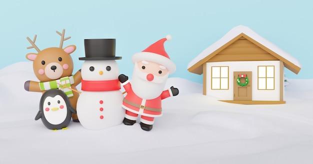 Fond de noël avec clause santa et amis debout sur la neige. rendu 3d.