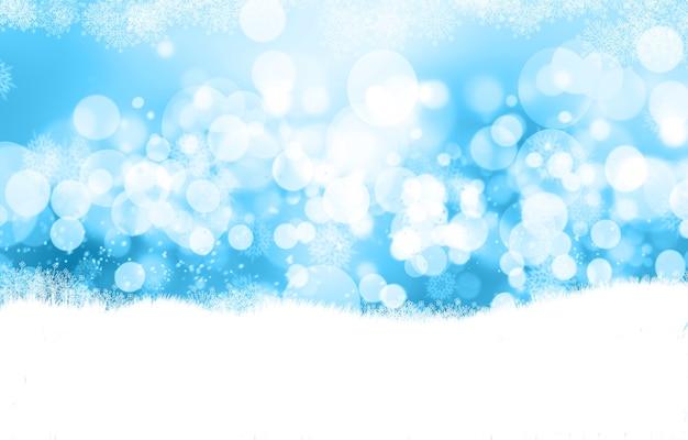 Fond de noël décoratif avec des lumières bokeh et des flocons de neige
