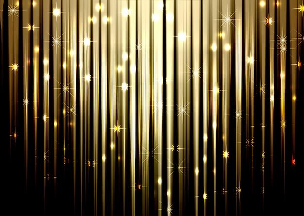 Fond de noël doré avec des lignes brillantes et des étoiles dégradé de bokeh