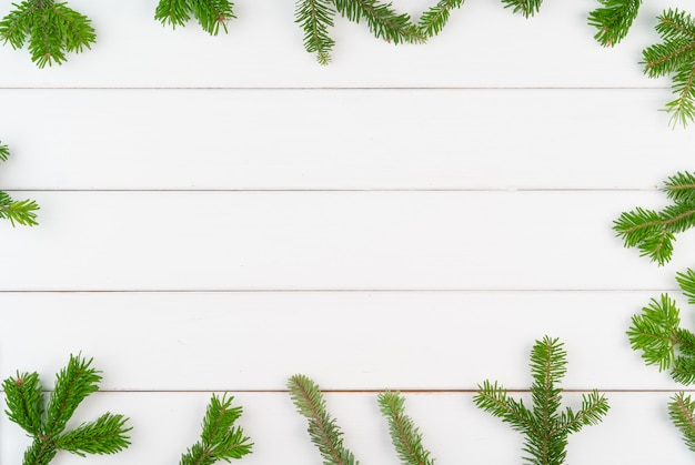 Fond de noël avec espace copie sur bois blanc