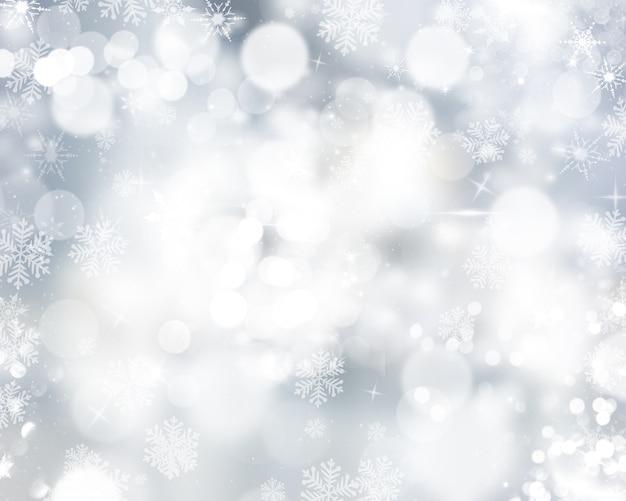 Fond de noël de flocons de neige et d'étoiles