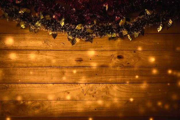Fond de noël avec un fond de plancher en bois.