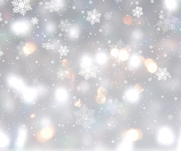 Fond de noël avec des lumières de bokeh et des flocons de neige