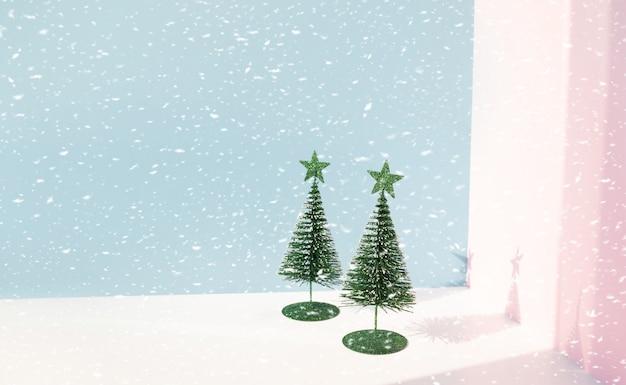 Fond de noël avec maquette d'arbre de pin mignon sur couleur pastel