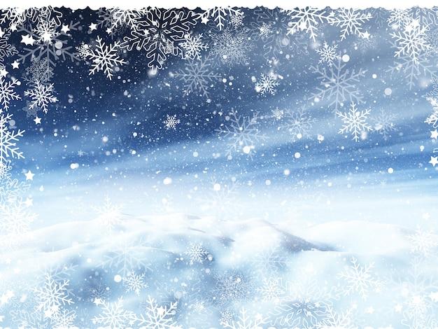 Fond de noël avec paysage enneigé et bordure de flocon de neige