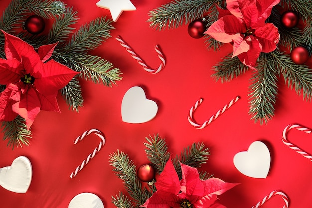Fond de noël en rouge vert avec de longues ombres coffrets cadeaux poinsettia brindilles de sapin