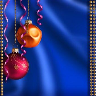 Fond de noël avec des rubans de boules et des perles