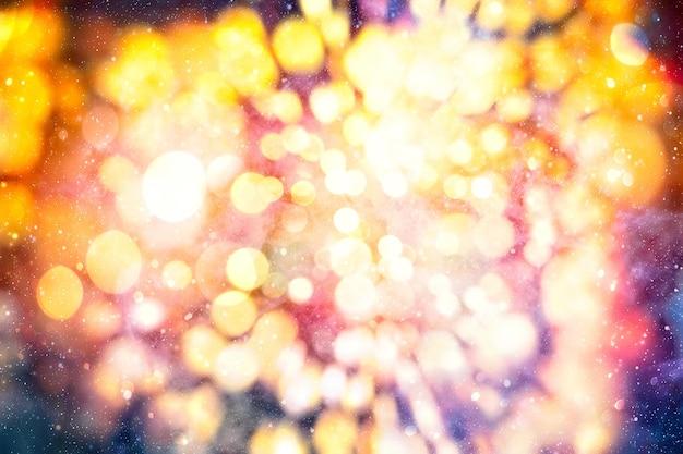 Fond de noël scintillant abstrait, fond de paillettes abstraites de vacances magiques avec des étoiles clignotantes. bokeh flou des lumières de noël.