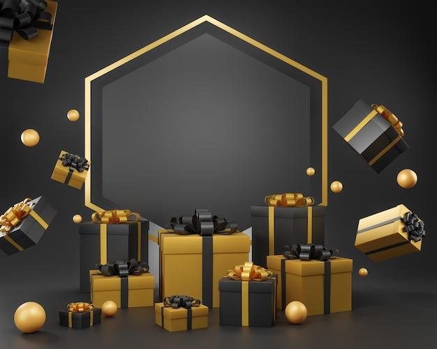 Fond de noël de vacances avec une boîte-cadeau, illustration 3d