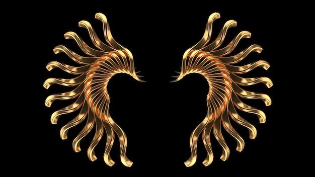 Fond noir avec des bijoux isolés d'or rendu 3d illustration