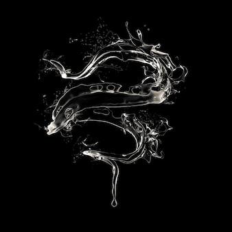 Fond noir avec des éclaboussures de liquide. rendu 3d.