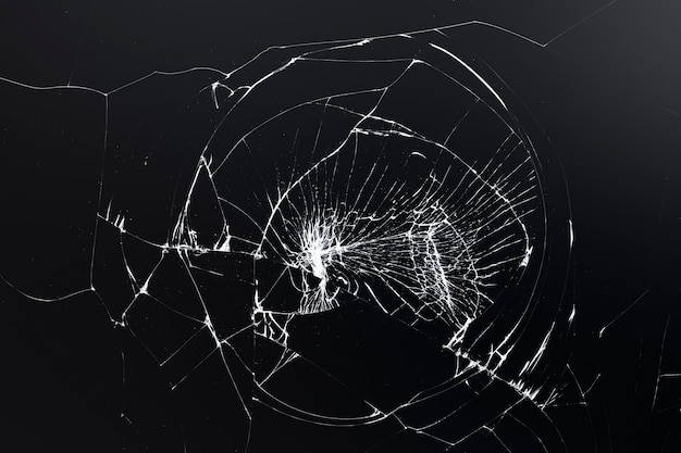 Fond noir fissuré avec texture de verre brisé