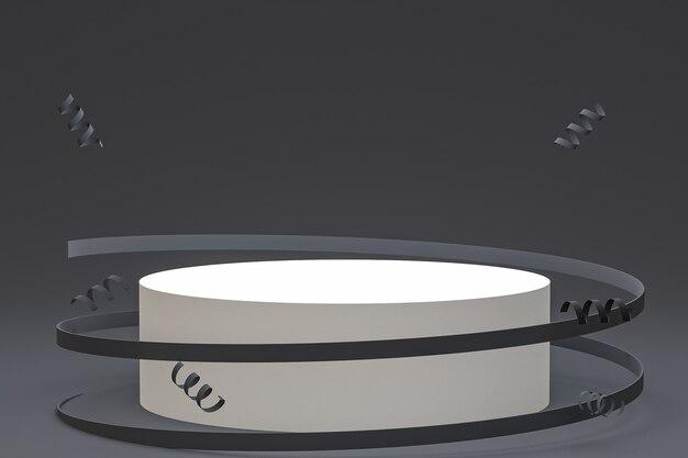 Fond noir de scène abstraite avec le podium de cylindre, les confettis et les rubans