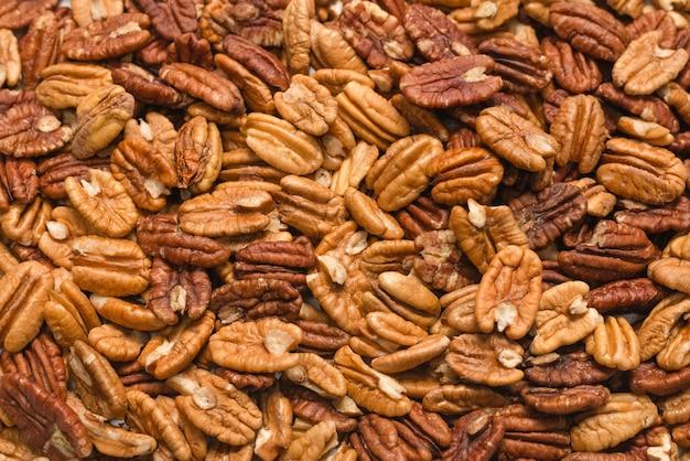 Fond de noix de pécan savoureux. vue de dessus.
