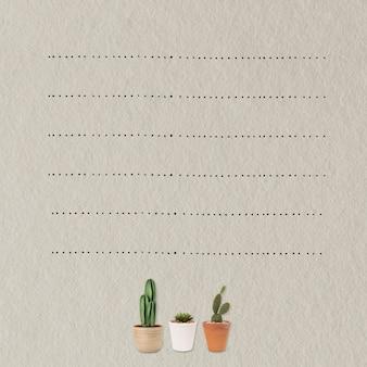 Fond de note de papier avec des plantes de cactus