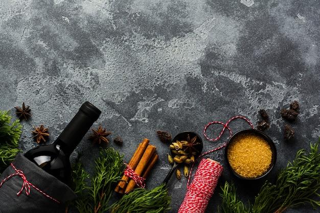 Fond de nourriture du nouvel an. ingrédients pour faire du vin chaud de noël