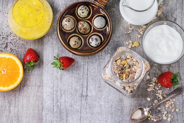 Fond de nourriture avec petit-déjeuner sain