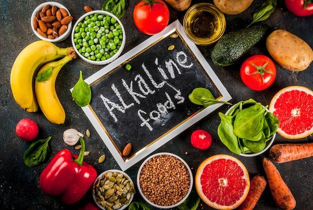 Fond de nourriture saine, produits diététiques alcalins à la mode