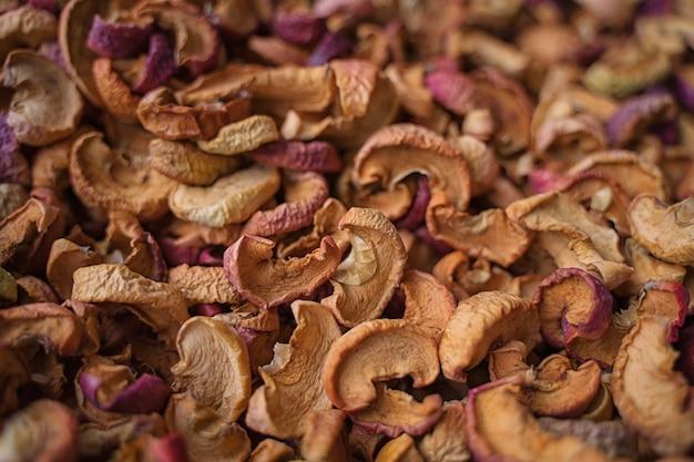 Fond de nourriture de tranches de pomme séchée