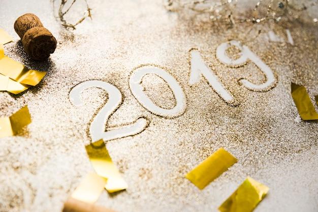 Fond de nouvel an avec 2019 chiffres