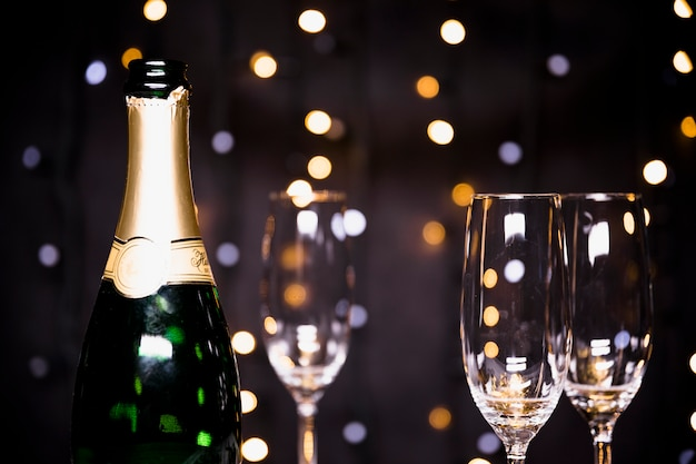 Fond de nouvel an avec du champagne