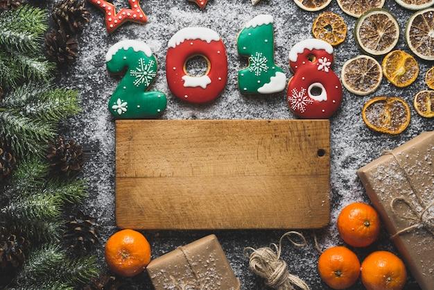Fond de nouvel an avec planche de bois