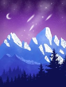 Fond de nuage violet de montagne avec de la neige