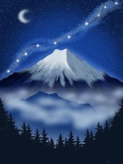 Fond de nuit de montagne avec de la neige