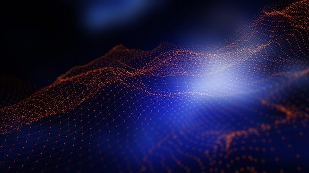 Fond numérique 3d avec lignes et points de connexion