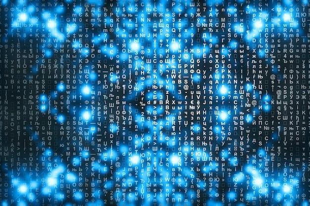 Fond numérique matrice bleue.