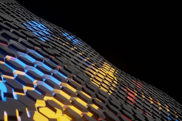 Fond ondulé hexagone futuriste