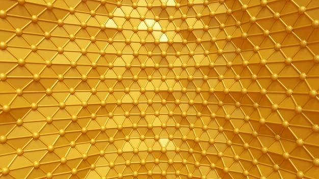 Fond d'or de luxe avec des triangles et des cristaux. illustration 3d, rendu 3d.