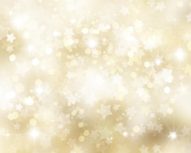 Fond d'or de noël avec des étoiles et des lumières de bokhe