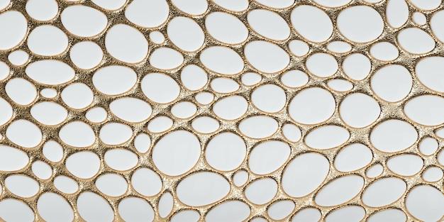 Fond d'or volumétrique avec une ombre rendu 3d du panneau décoratif