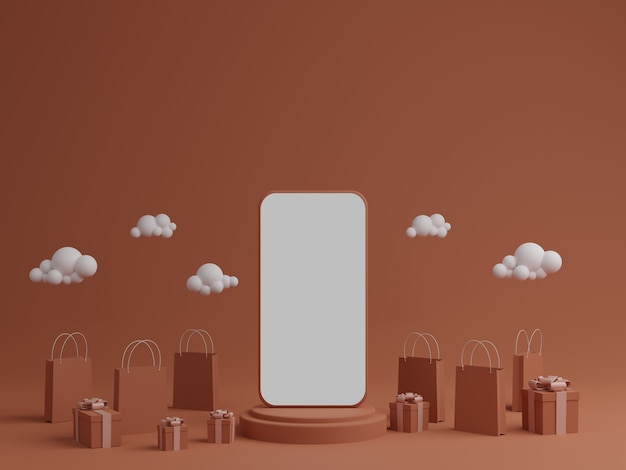 Fond orange avec maquette mobile d'écran blanc vide, boîte-cadeau et sac à provisions