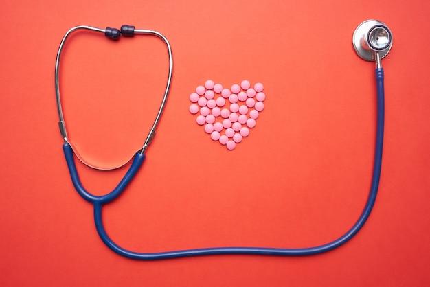 Fond orange pharmaceutique de traitement de médecine de stéthoscope