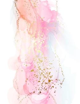 Fond orange rose dégradé avec éclaboussures de feuille d'or