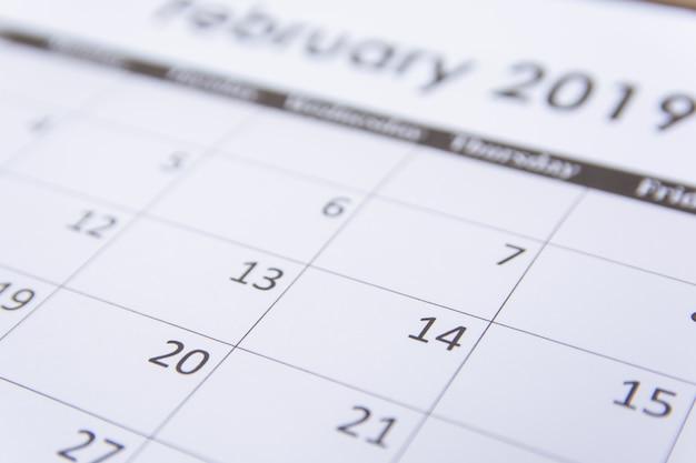 Fond de page de calendrier de février 2019