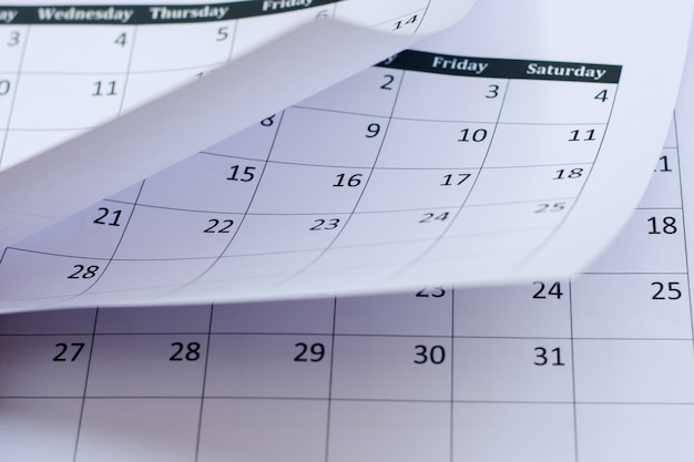 Fond de page de calendrier