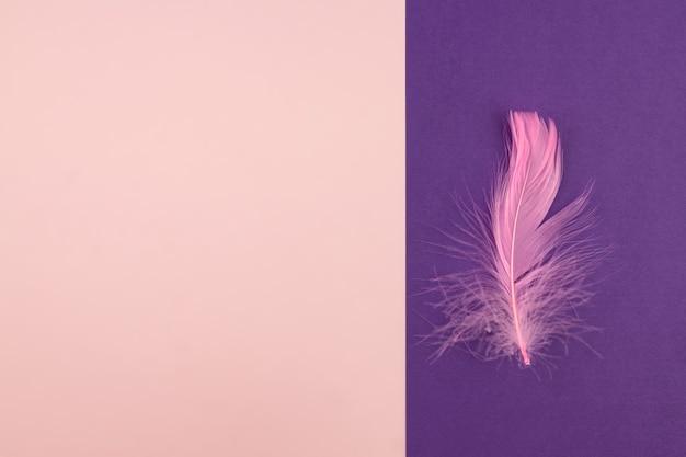 Fond de papier géométrique abstrait de couleurs roses et violets pastel avec plume violette.