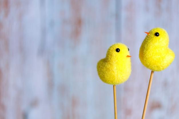 Fond de pâques avec chichen jaune