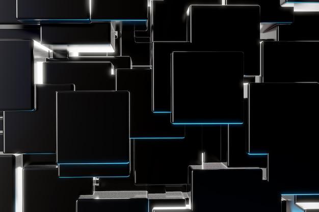 Fond de particules de cube noir