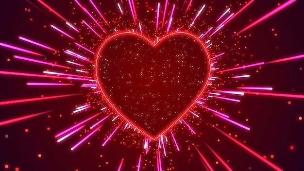 Fond de particules de néon coeur coloré